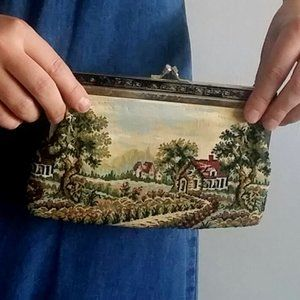 1970's Does Victorian Tapestry Clasp Clutch